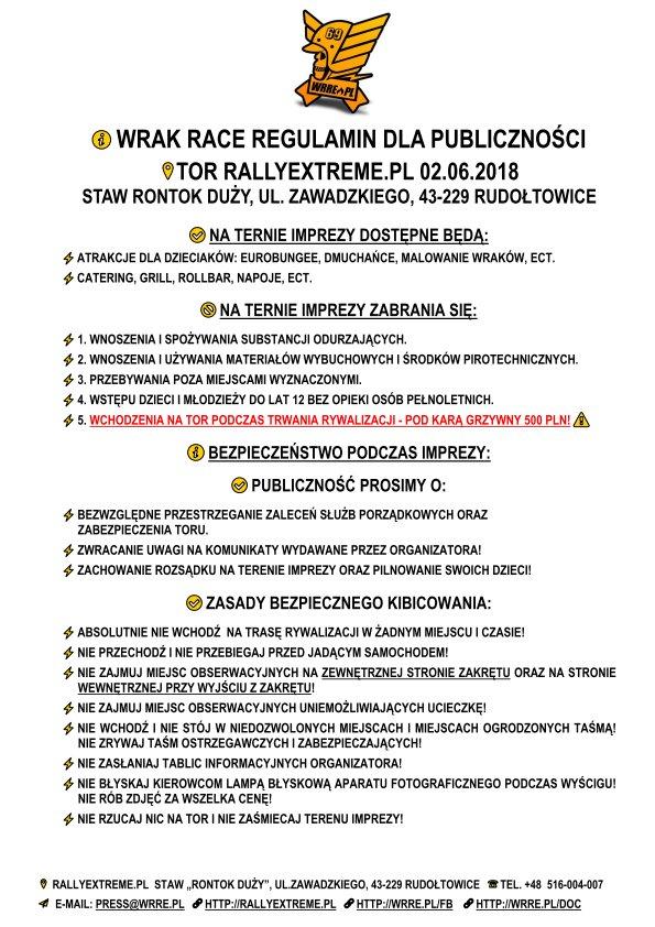 Regulamin dla Publiczności Wrak Race Rally Extreme - 02.06.2018 - RallyExtreme.pl Rudołtowice k.Pszczyny