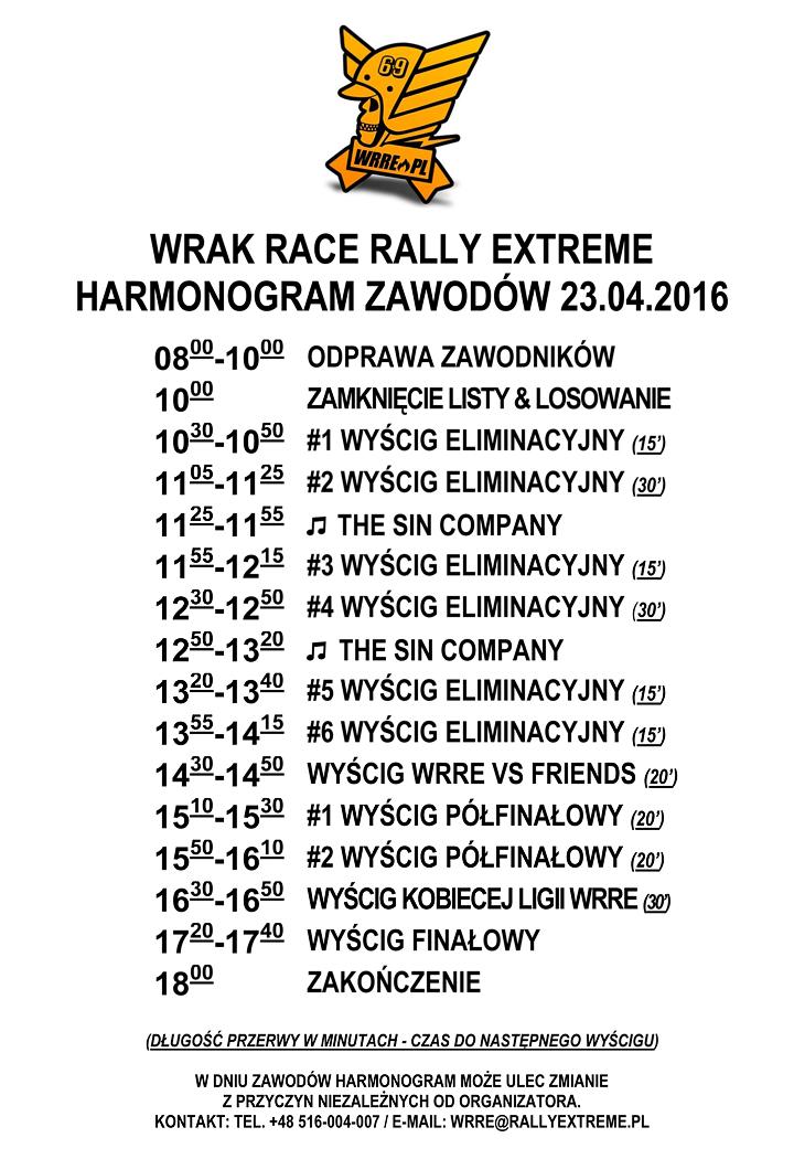 Harmonogram Wrak Race Rally Extreme - 23.04.2016 - RallyExtreme.pl Radostowice k.Pszczyny